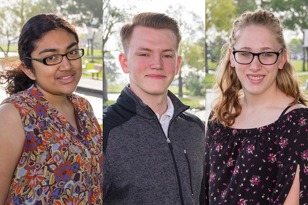 Three College of the Mainland students named to the All-Texas Academic Team include (l-r) Maria Henriquez, David Milling and Breanna Clarke.