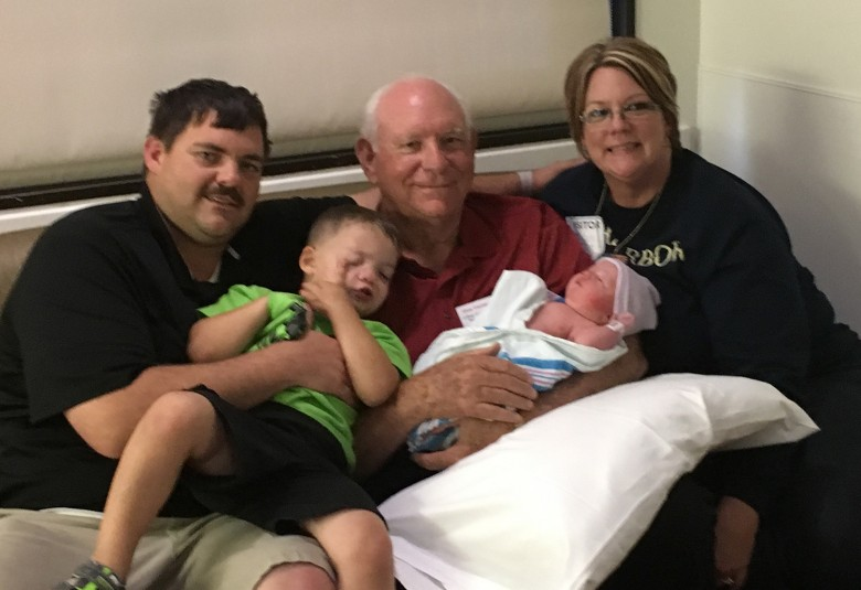 Don Gartman with his newest great-grandchild born May 2 and family members.