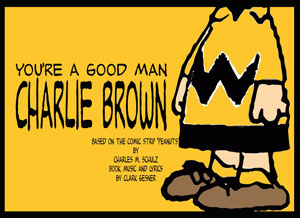 "Charlie Brown from ""PEANUTS"" standing against a yellow background"