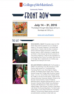 Cover of July 2016 Front Row newsletter