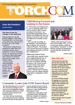 College of the Mainland Torch newsletter cover