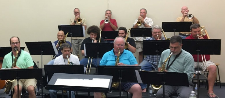 College of the Mainland Jazz Ensemble horns rehears for Oct. 24 concert.