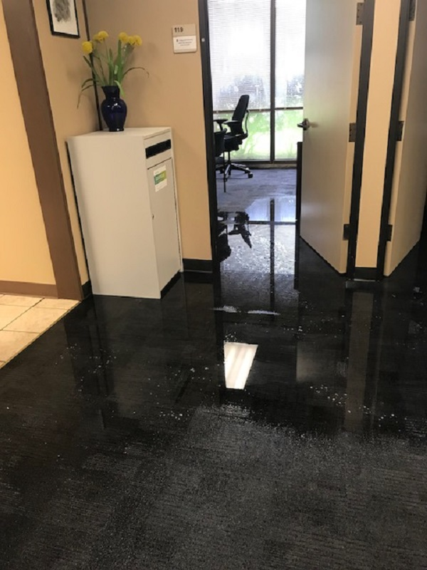 Admin Building Floods During Downpour