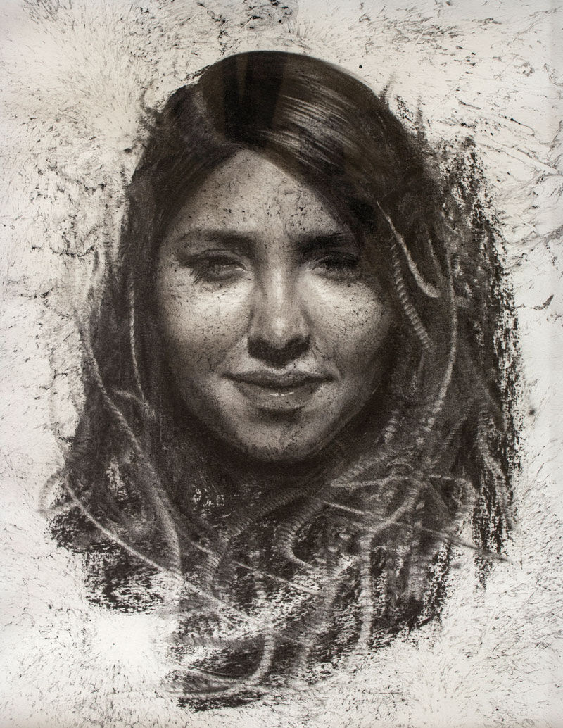 Black and white drawing of a pretty female face.