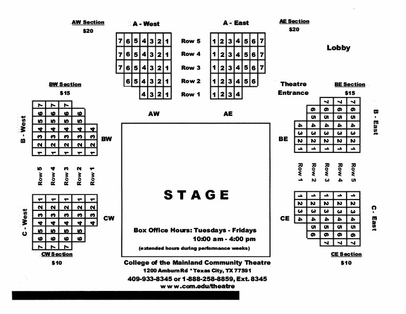 Seating Chart for COM Theatre