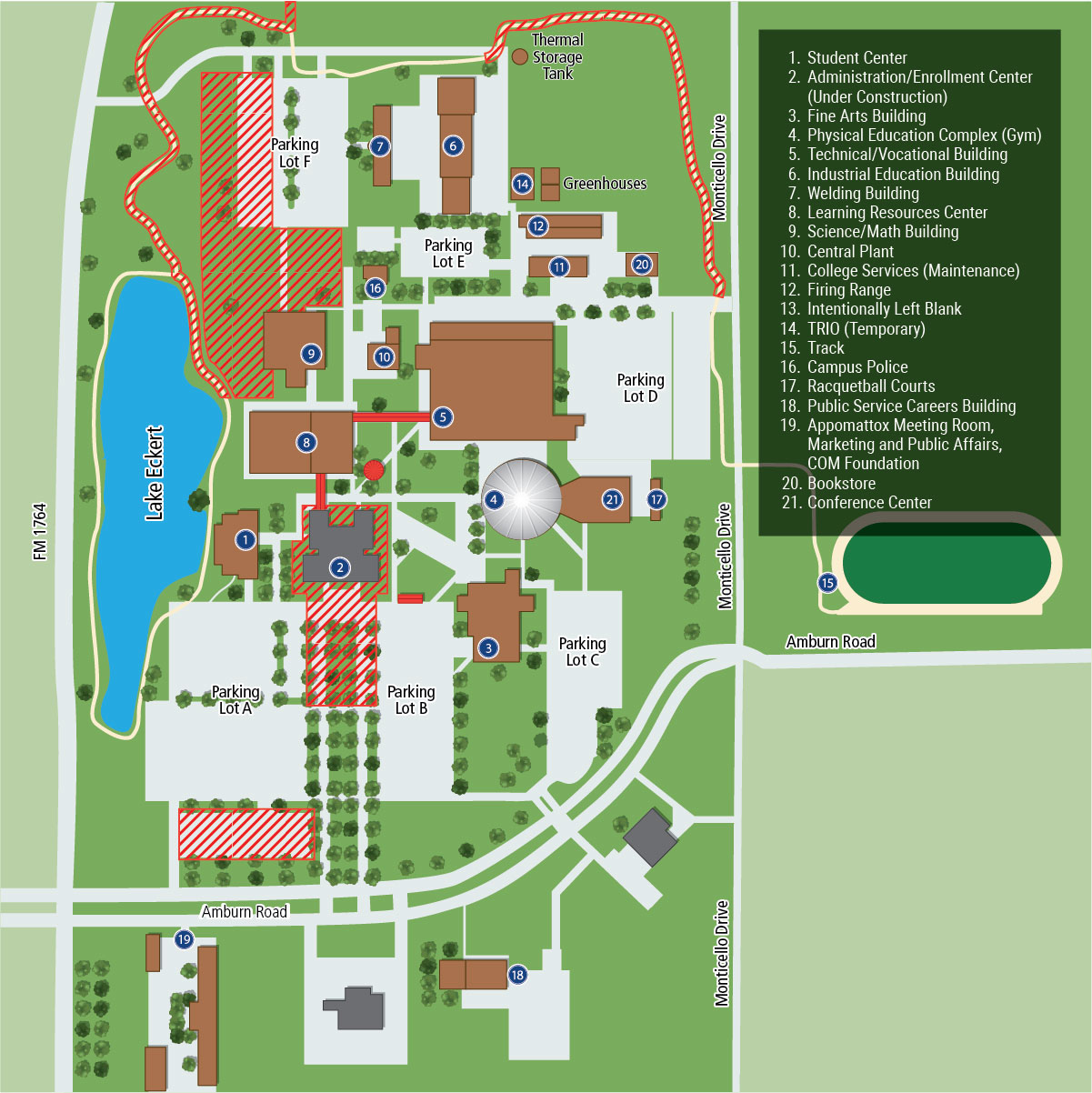 College of the Mainland campus map image