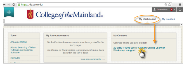 Screenshot of Blackboard page showing where students select the online learner workshop course.
