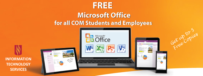 Free Microsoft Office for all COM Students and Employees