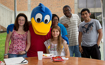 Comet the duck with students