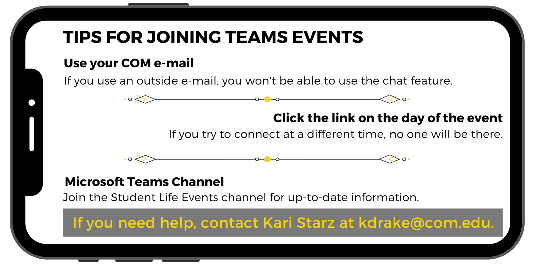 Use your COM email. Click the link on the day of the event.