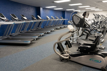 Cardio room with precor equipment
