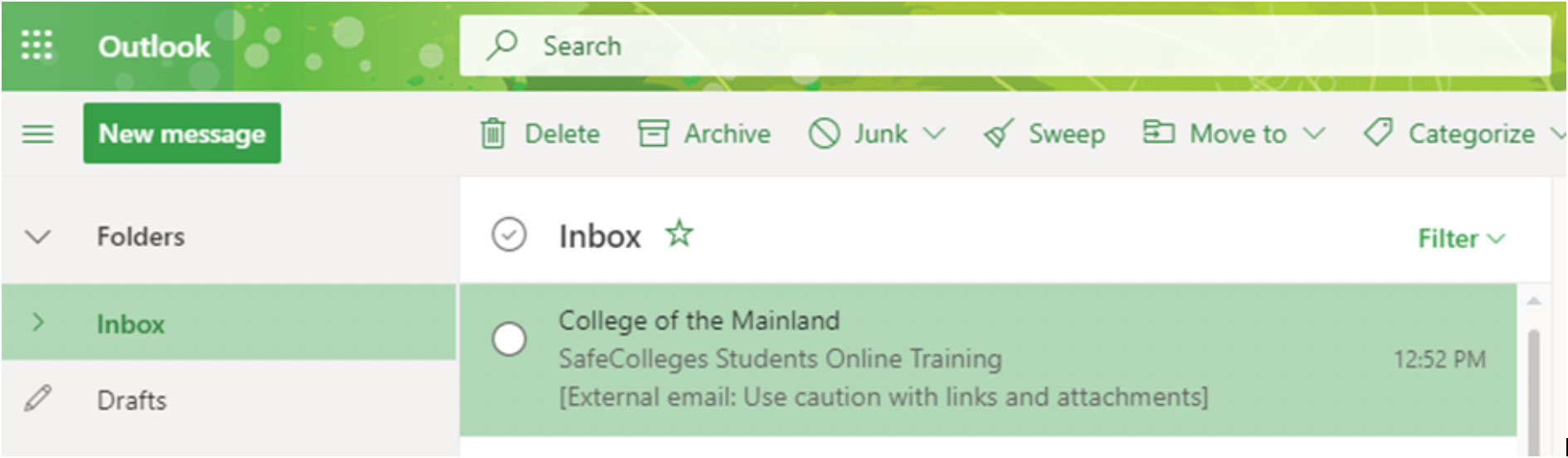 Screenshot of email from SafeColleges